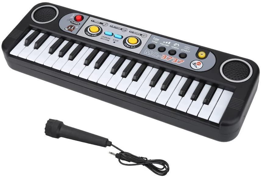 SolUptanisu 37-Key Electric Digital Key Board Piano Kids Educational Music Instrumental Toy Portable Electronic Keyboard with Microphone for Beginners