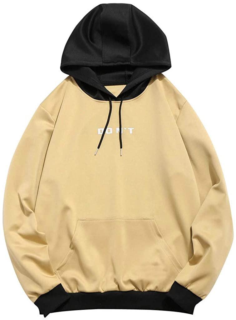 HNTDG Men Women Lover Casual Patchwork Hooded with Pockets Coat Top Blouse Sweatshirt