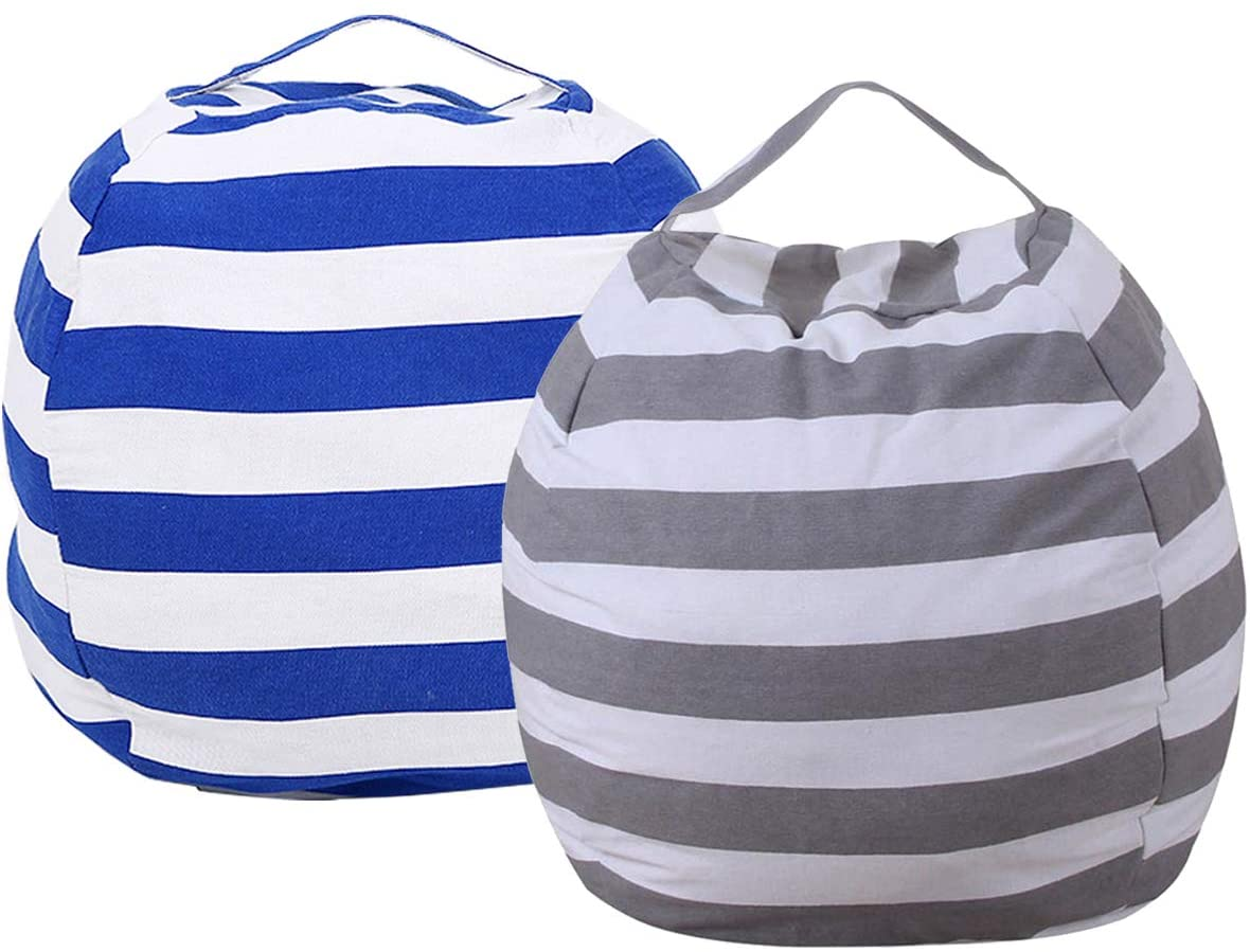 2 Pack Stuffed Animal Storage Bean Bag Chair Cover 23 Inch Velvet Extra Soft Plush Organization Replace Mesh Toy Hammock for Kids Toys Blankets Towels Clothes Household Only White Grey Blue Strips