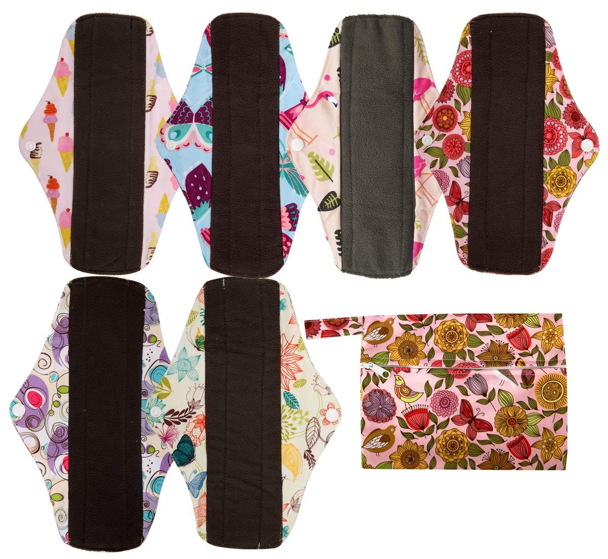 7pcs Set 1pc Mini Wet Bag +6pcs 10 Inch Regular Charcoal Bamboo Mama Cloth/Menstrual Pads/Reusable Sanitary Pads (Sunflower)
