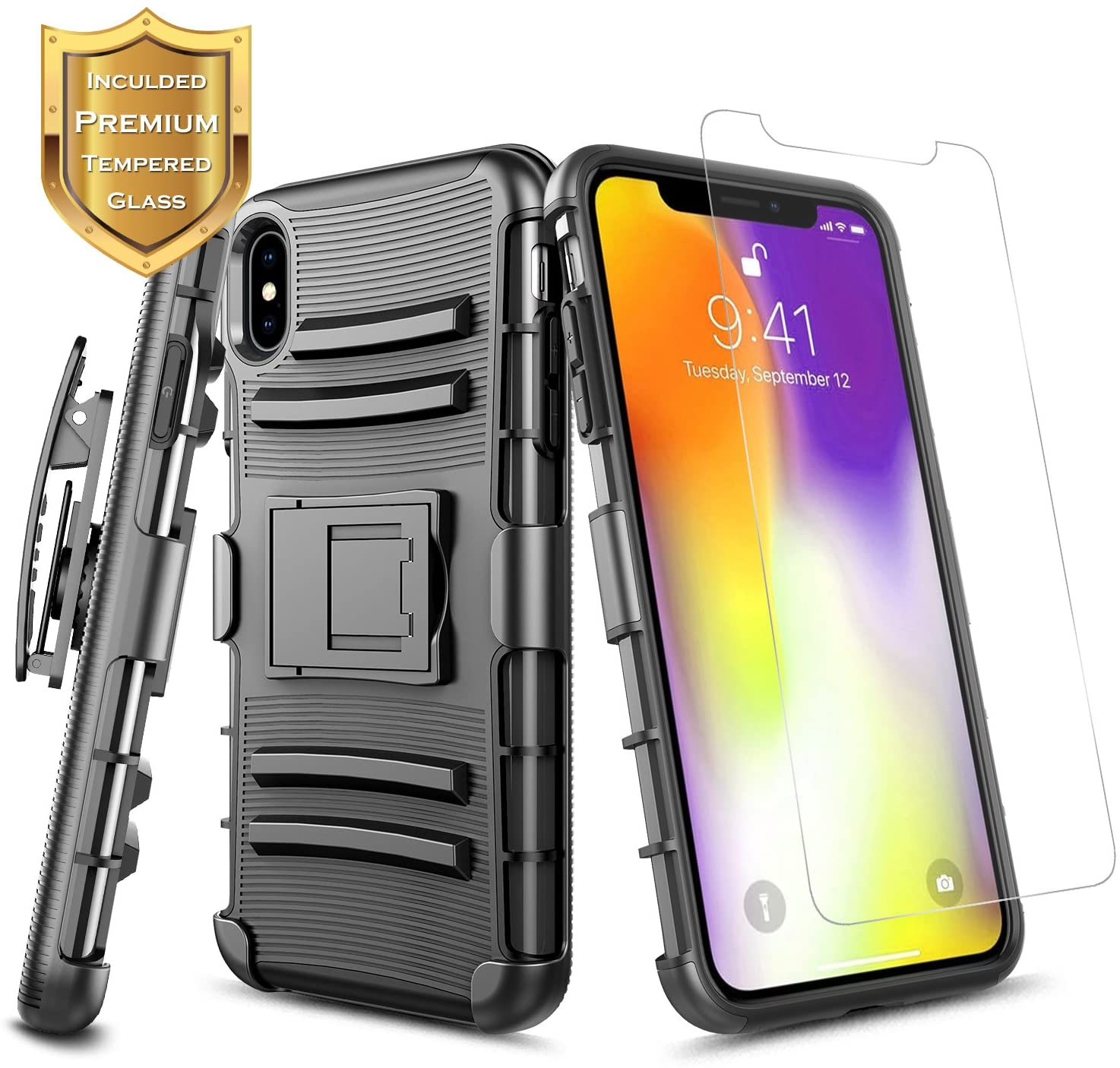 iPhone Xs Max Case w/[Tempered Glass Screen Protector], NageBee Belt Clip Holster Heavy Duty Armor Shock Proof Dual Layer Kickstand Rugged Combo Case for iPhone Xs Max 6.5 inch - Black