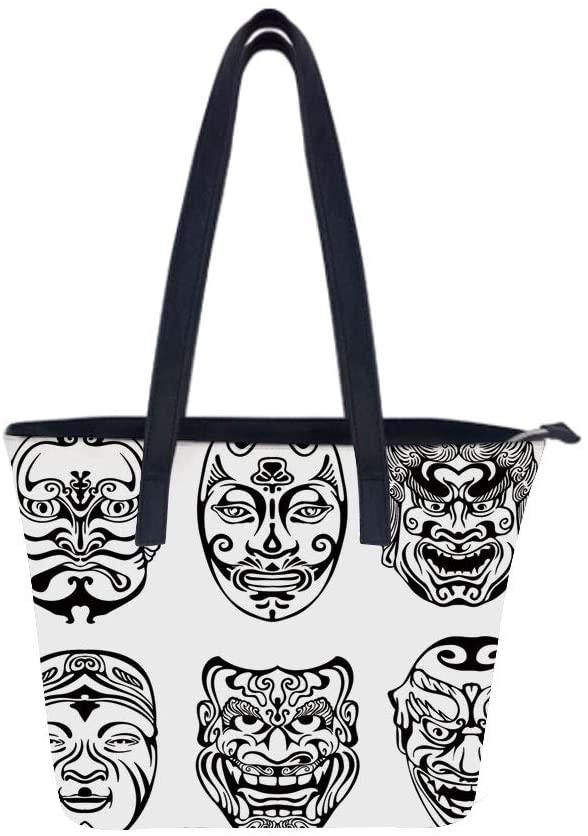 KabukiMask Japanese Emotion Women Leather Laptop Tote Office Shoulder Handbag Computer Briefcase