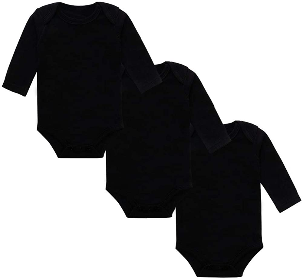 JWWN 3 Pack Unisex Baby Long Sleeve Onsies 100% Cotton Solid Color Infant Bodysuit, Newborn-24 Months