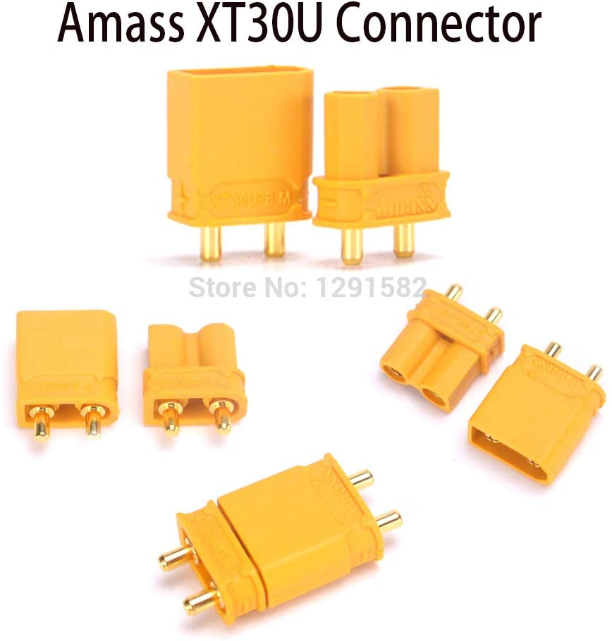 Parts & Accessories Amass XT30U Male Female Bullet Connector Plug Upgrade XT30 for RC FPV Lipo Battery RC Quadcopter - (Color: 20pair)