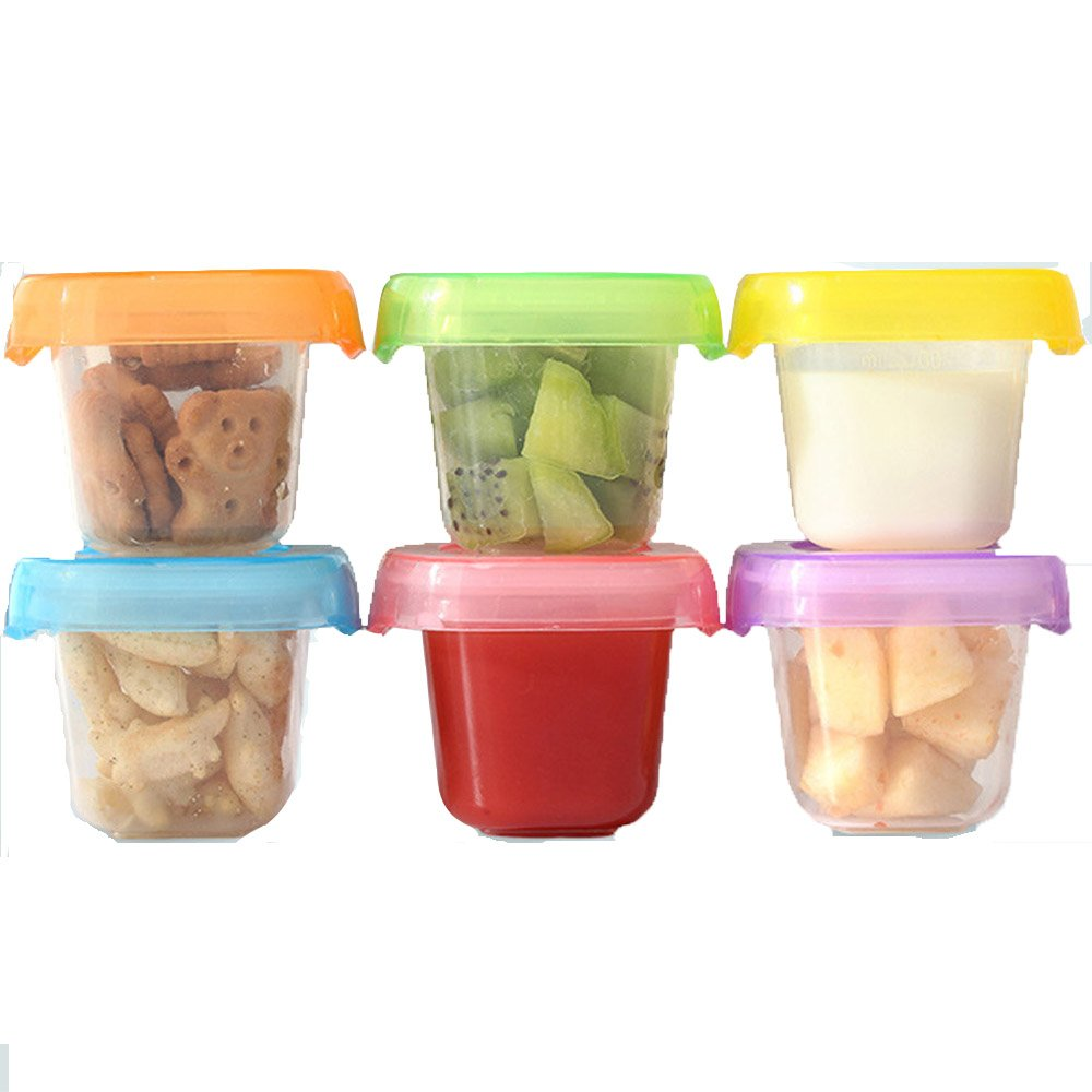 Frealm Baby Food Storage Containers Set with Soft Bottom, Freezer and Microwave Safe, BPA Free, Airtight, Spill Proof (2oz x 6 Containers)