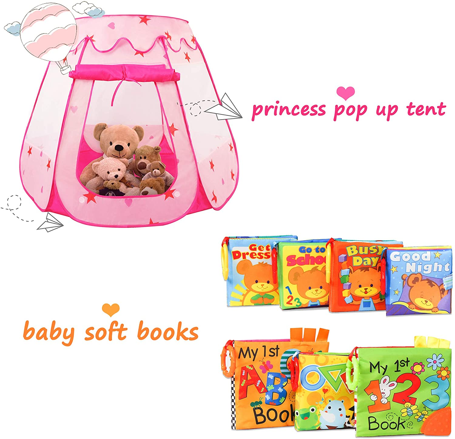 KIDAMI Princess Pop Up Tent & Baby Soft Books, Indoor Outdoor Play and Learning Numbers and Alphabets and Telling Stories, Gift Set for Toddler, Infant and Baby
