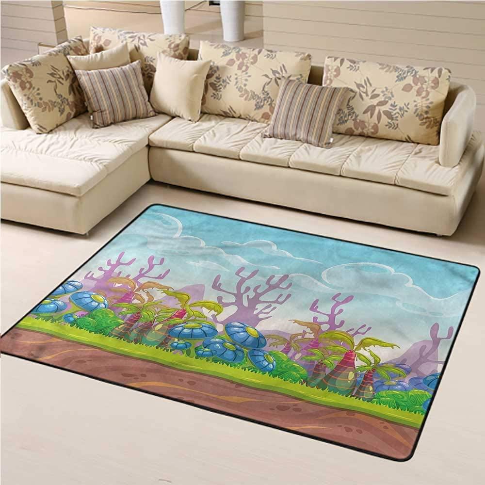 Area Rug Cartoon, Fantastic Giant Mushroom Baby Floor Playmats Crawling Mat Suitable for Children Nursery 4 x 6 Feet