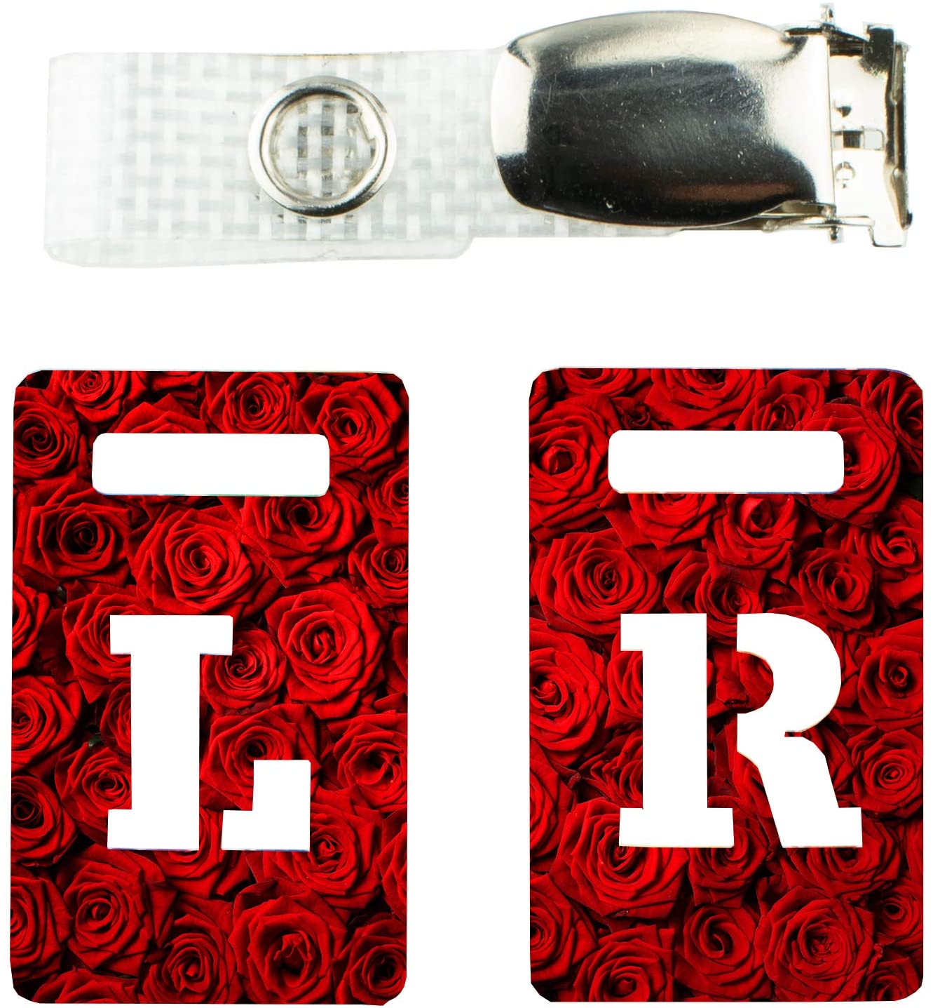 X-ray Markers with Carry-on Strap Radiography Tablet Markers Radiopaque L and R for Radiographer with Red Roses Floral Pattern Clip with Metal Poppers