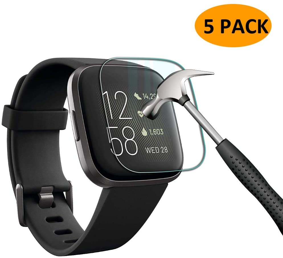 [5 Pack] Compatible for Fitbit Versa 2 Tempered Glass Screen Protector, YMHML Waterproof 9H Hardness Crystal Clear [No-Bubble] Anti- Scratch Easy Installation Film for Fitbit Versa 2 Accessories