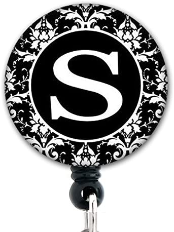 S Initial Black and White Damask - Retractable Badge Reel With Belt Clip and Extra-Long 34 inch cord - Badge Holder