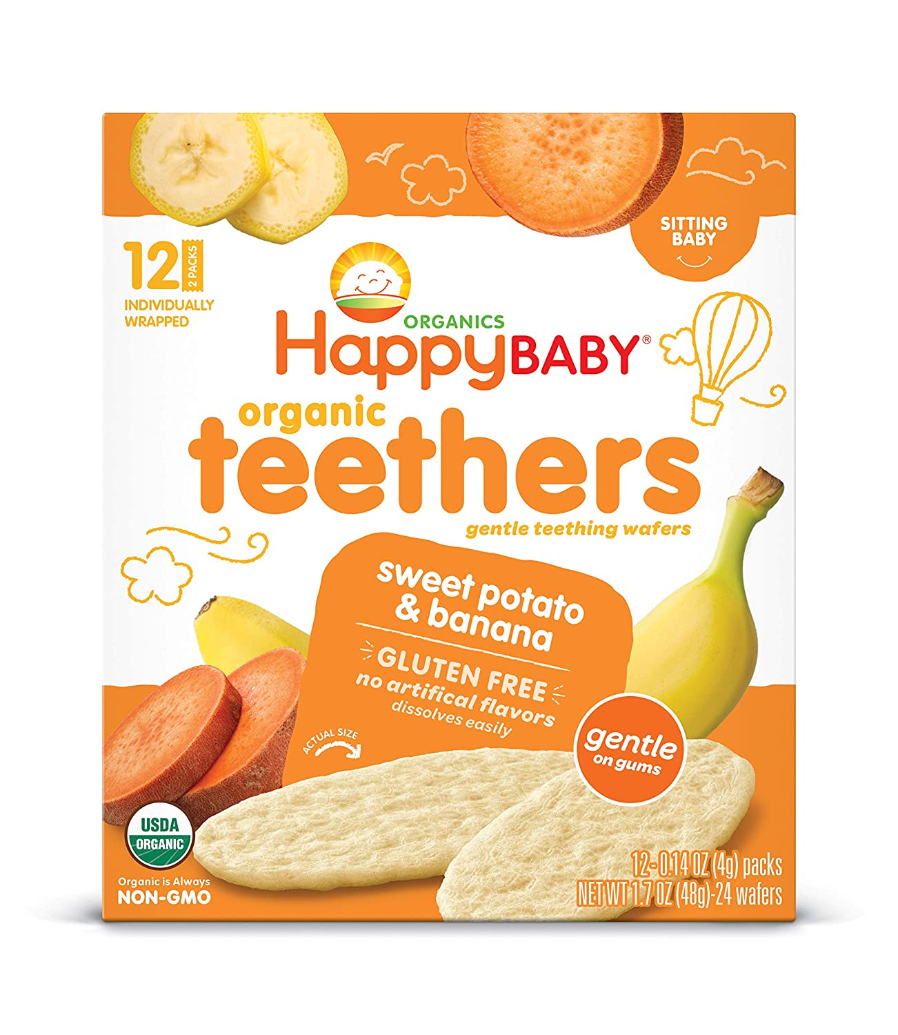 Happy Baby Gentle Teethers Organic Teething Wafers Banana Sweet Potato, 12 Count Box (Pack of 6) Soothing Rice Cookies for Teething Babies Dissolves Easily, Gluten-Free (Packaging May Vary)