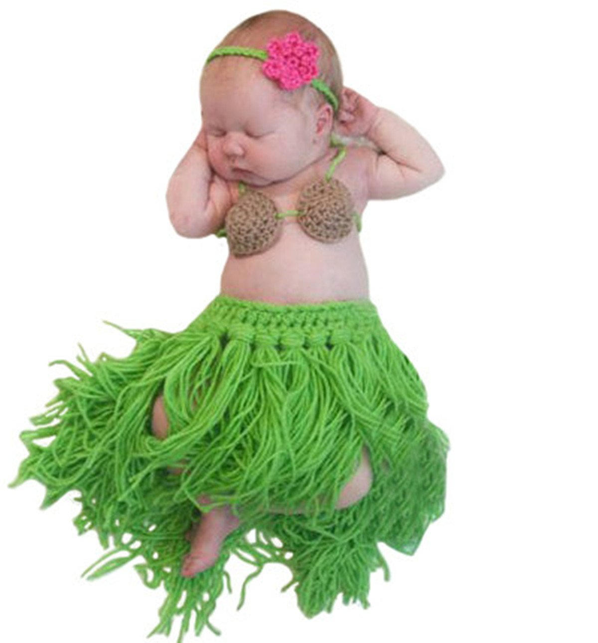 M&G House Newborn Photography Props Baby Handmade Crochet Knitted Outfits Hawaii Hula Skirt