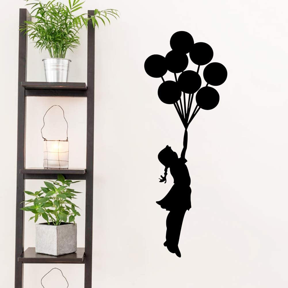 Wall Decals for Girls Bedroom Banksy Girl with Balloon Street Graffiti Art Wall Stickers Front Door Home Decor Decal Black Quotes Letter Window Glass Vinyl Tile Fashion Cool Funny Sticker Removable