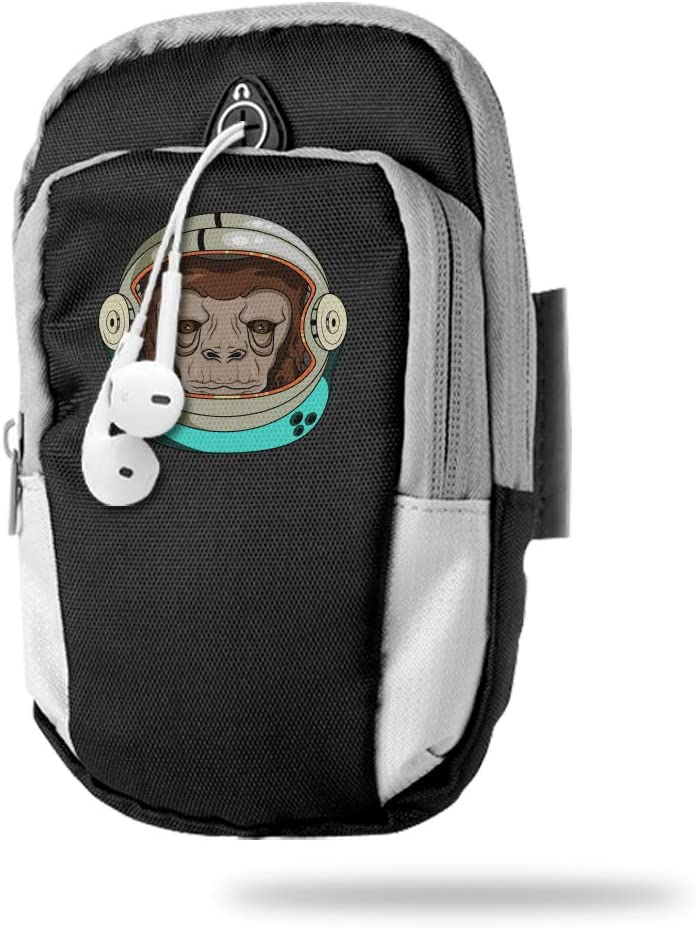 Sports Arm Bag Free Gym Phone Armbands Cell Phone Arm Holder I'm A Monkey Space Astronaut Pouch Case with Earphone Hole for Running for Men Mini Shoulder Bag Travel Women Kids Handbag
