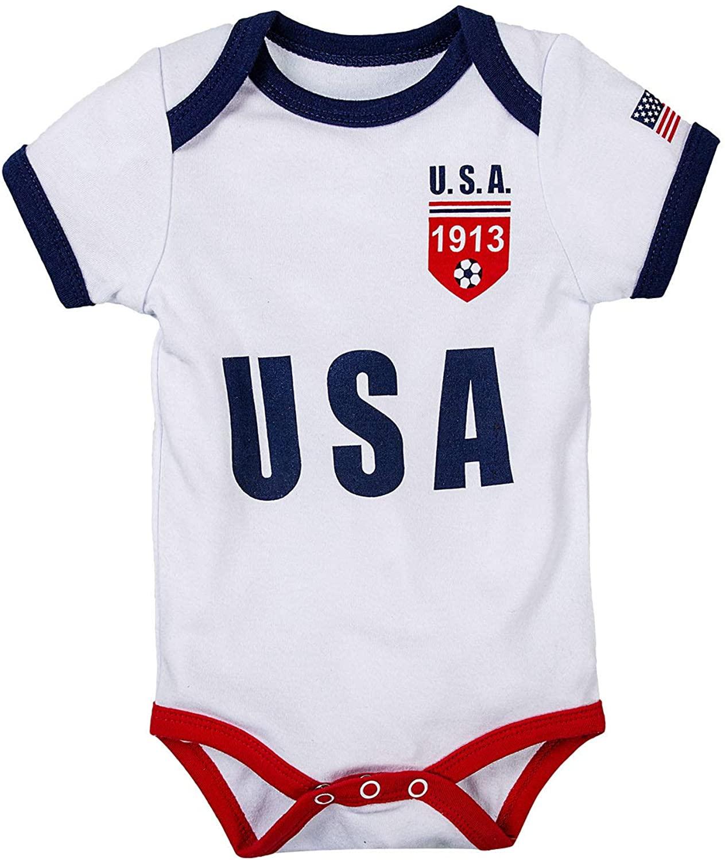 Unisex Newborn Baby Boys Girls Short-Sleeve US Unique Soccer Onesie Bodysuit | US Soccer Baby outfits 2020