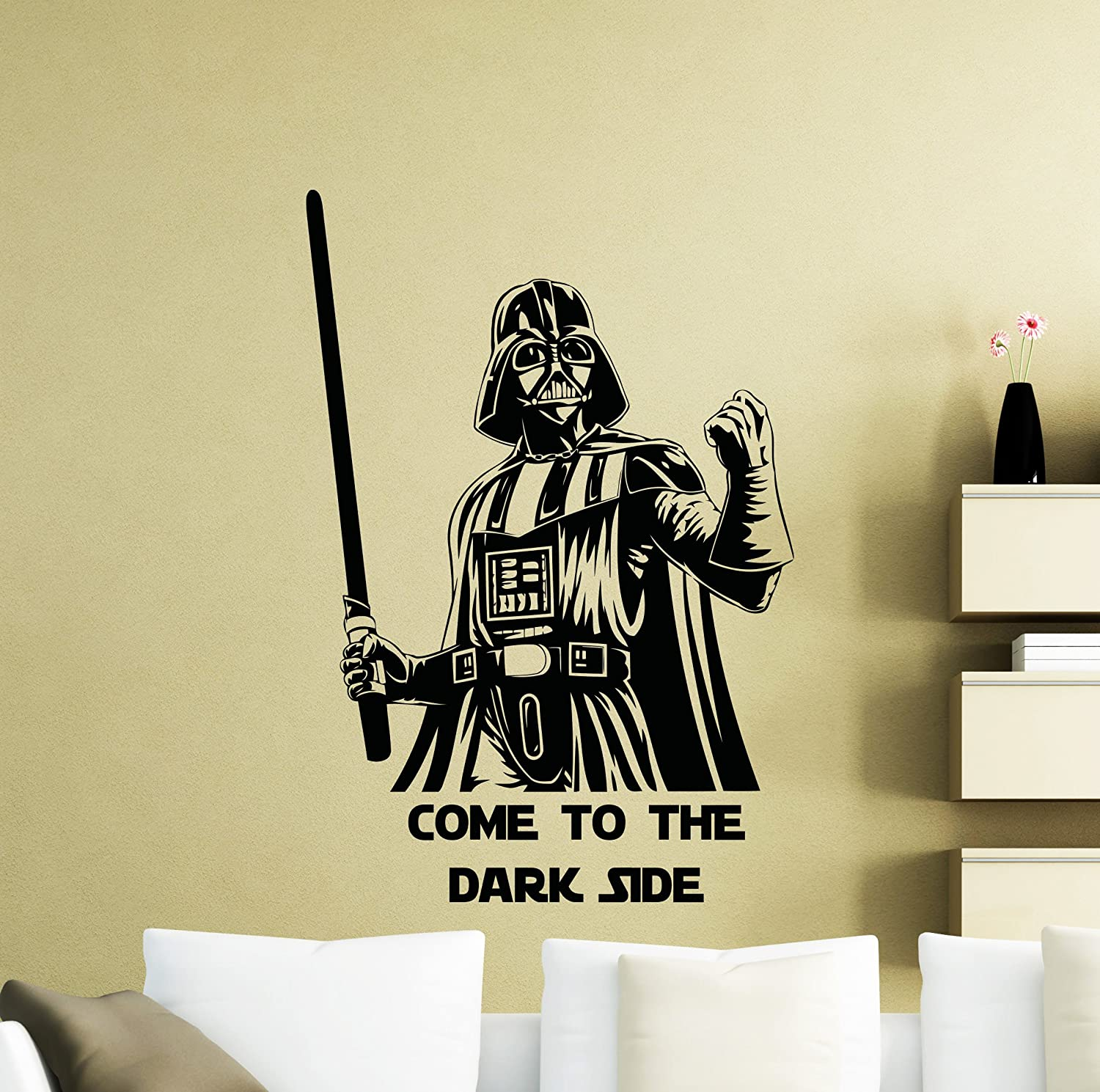 Star Wars Wall Decals Darth Vader Come to The Dark Side One Quote Vinyl Sticker Home Teen Kids Room Nursery Art Decor Lettering Vinyl Mural (22sw)