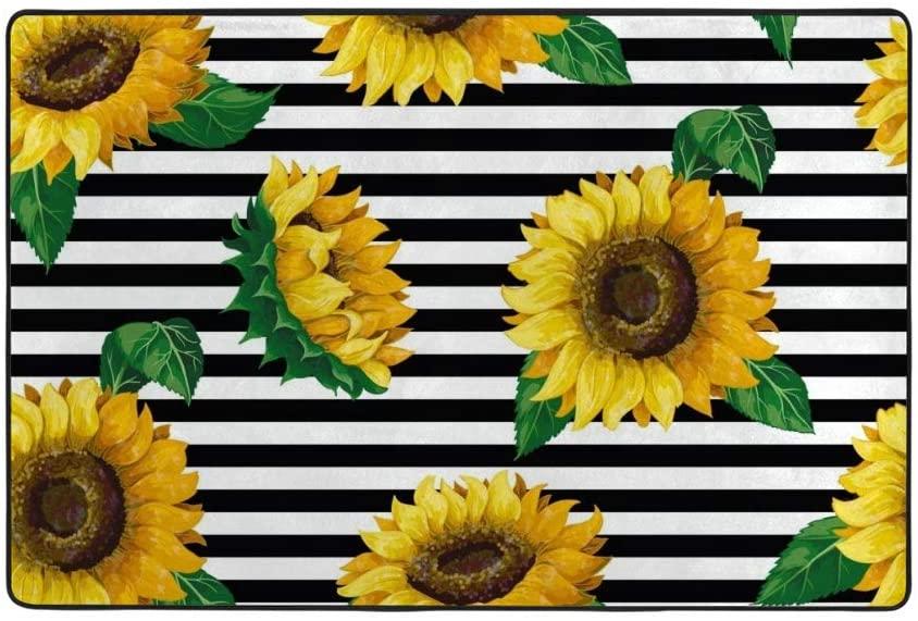 My Little Nest Sunflowers on Black White Stripes Kids Play Mat Baby Crawling Carpet Non Slip Soft Area Rug for Living Room Bedroom Dining Room Classroom Floor Mat Lightweight 3'3