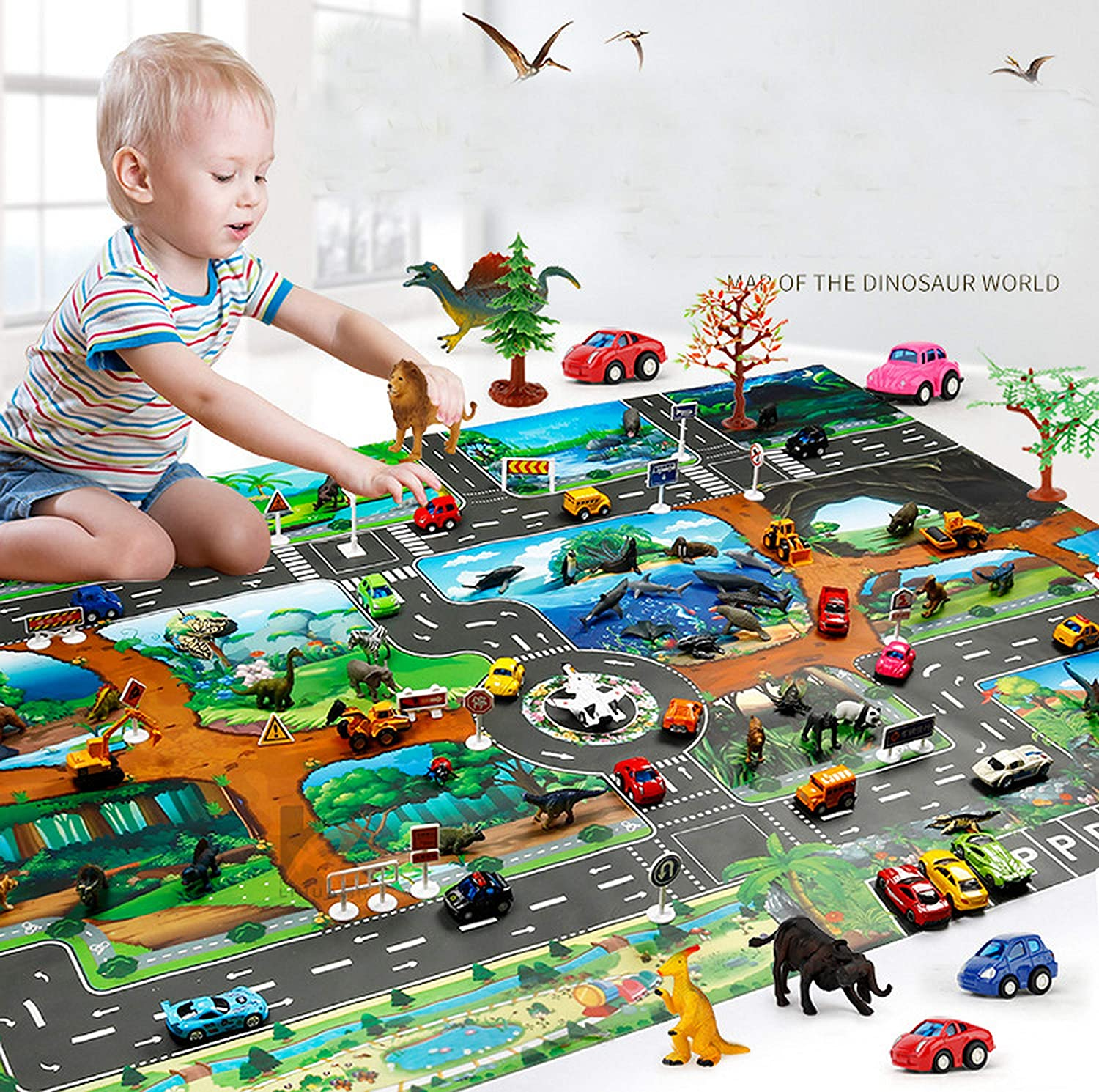 Kueimovi Kids Carpet Rug Playtime Collection Dinosaur Road Traffic Map Educational Learning & Game Area Rug Carpet for Kids and Children Bedrooms and Playroom