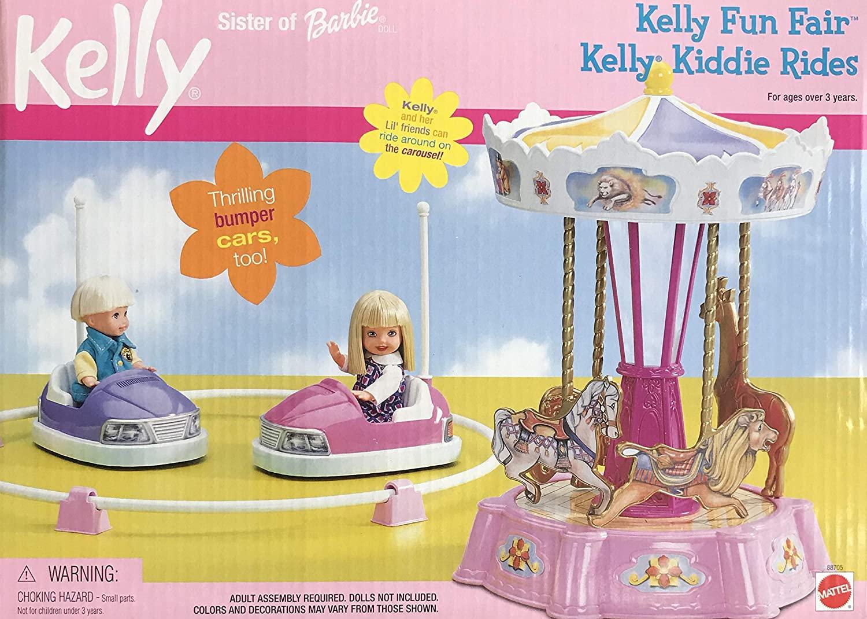 Mattel Kelly Fun Fair Kelly Kiddie Rides Playset w 2 x Thrilling Bumper Cars & Carnival Style Carousel (2000)