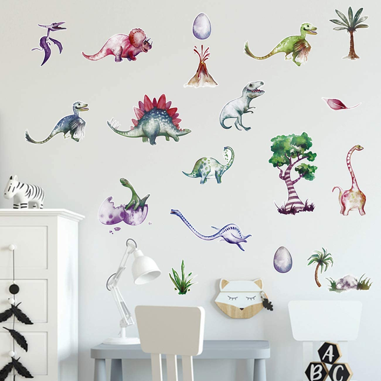 Dinosaur Wall Decals Dinosaur Room Decor for Boys Bedroom Living Room Wall Stickers Decoration 12x24