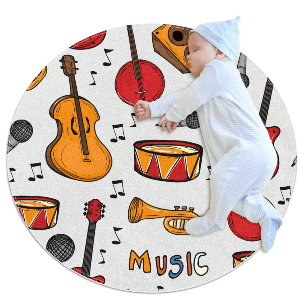 Carpet Musical Instrument Nursery Round Rug for Kids Room Soft and Smooth Suede Surface Non-Slip Castle Tent Game mat Best Gift for Your Kids 2feet 3.5inch