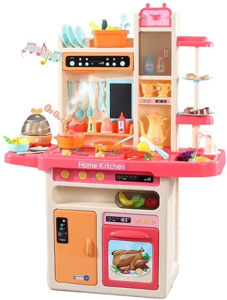 HDGTSA Children's Kitchen Musical Toy Simulates The Kitchen Toy Simulates The Steam Water Spray (C)