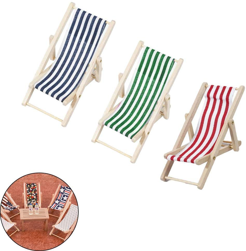 FAFAHOUSE 3 Pack Mini Folding Beach Sunbath Chair Longue Deck Chair Craft Dollhouse 1:12 Decoration Accessories