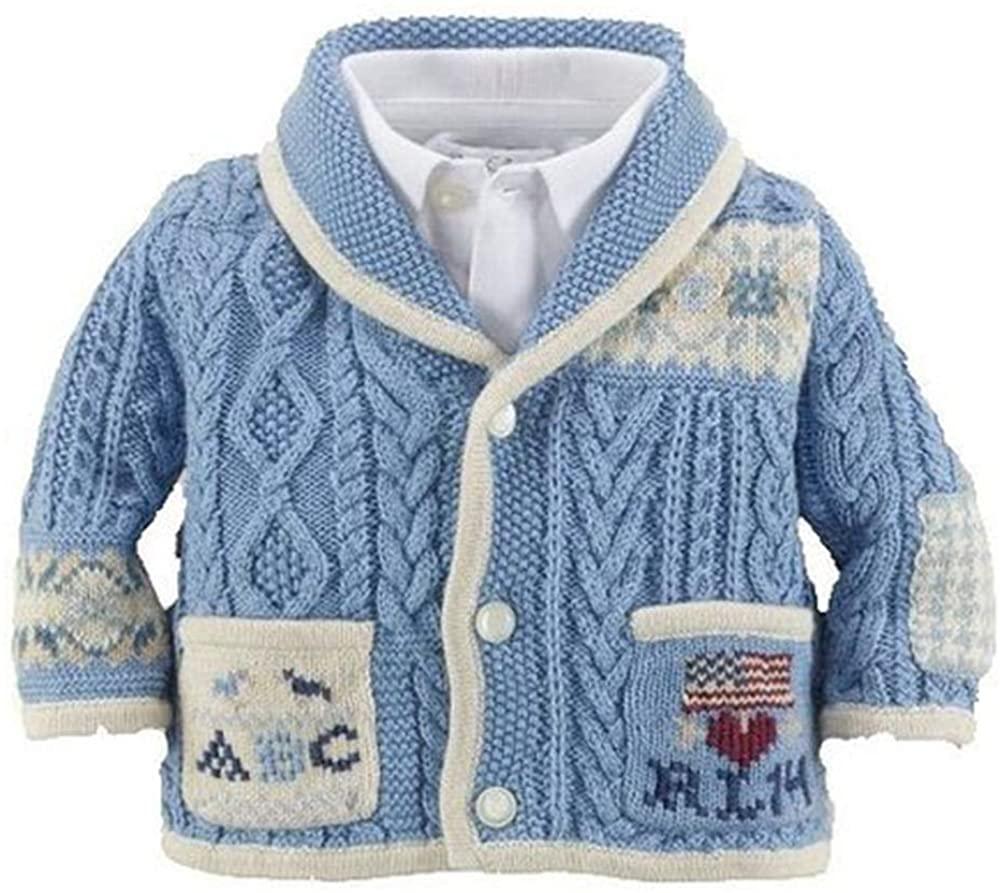 Ralph Laure Layette Sampler Cotton Shawl Jacket Size 9 Months Blue/White