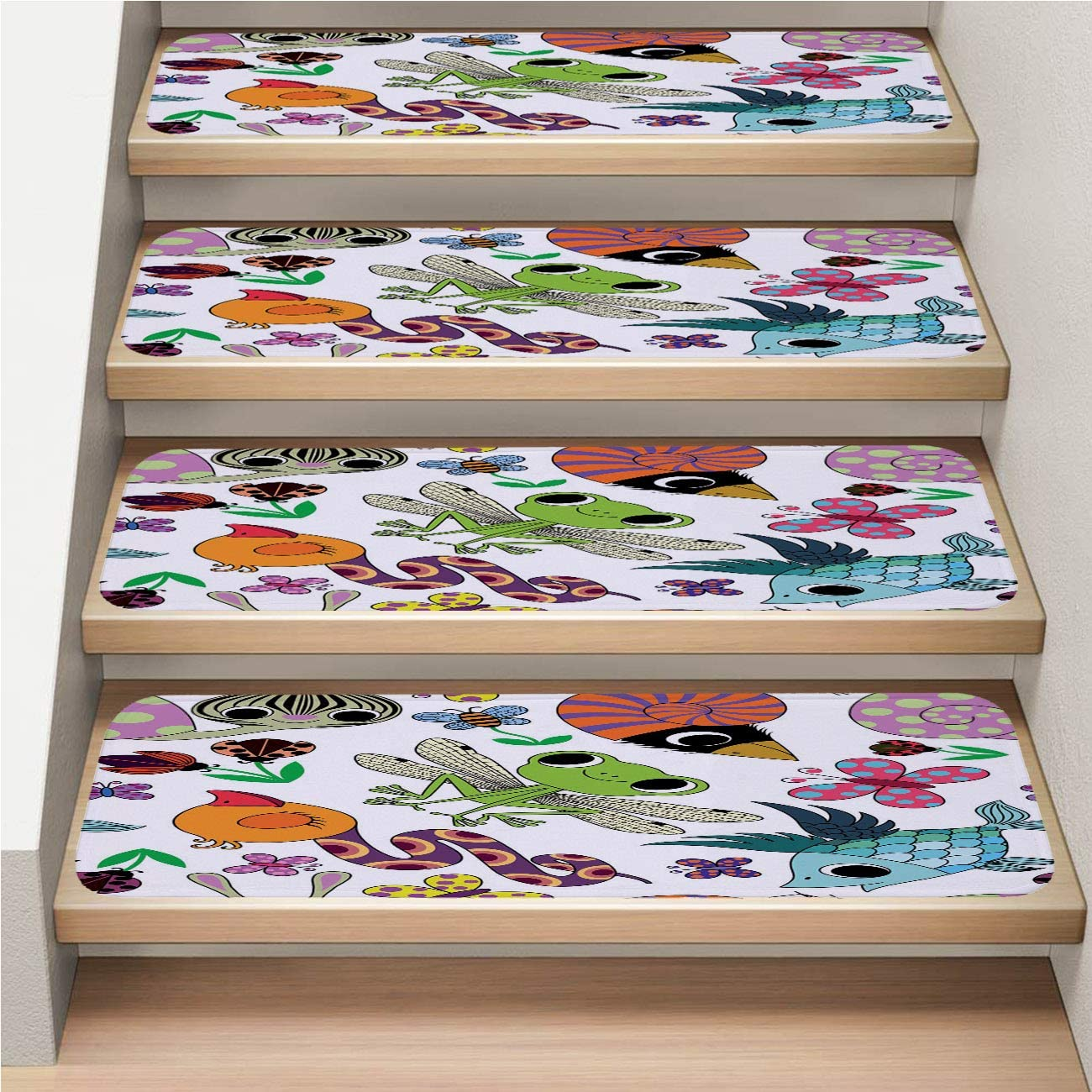 Cartoon 7-Pack Stair Mat, Non-Slip, Soft,Cartoon Animals Funny Cute Pattern,rotection Kids, Elders, and Dogs Safety