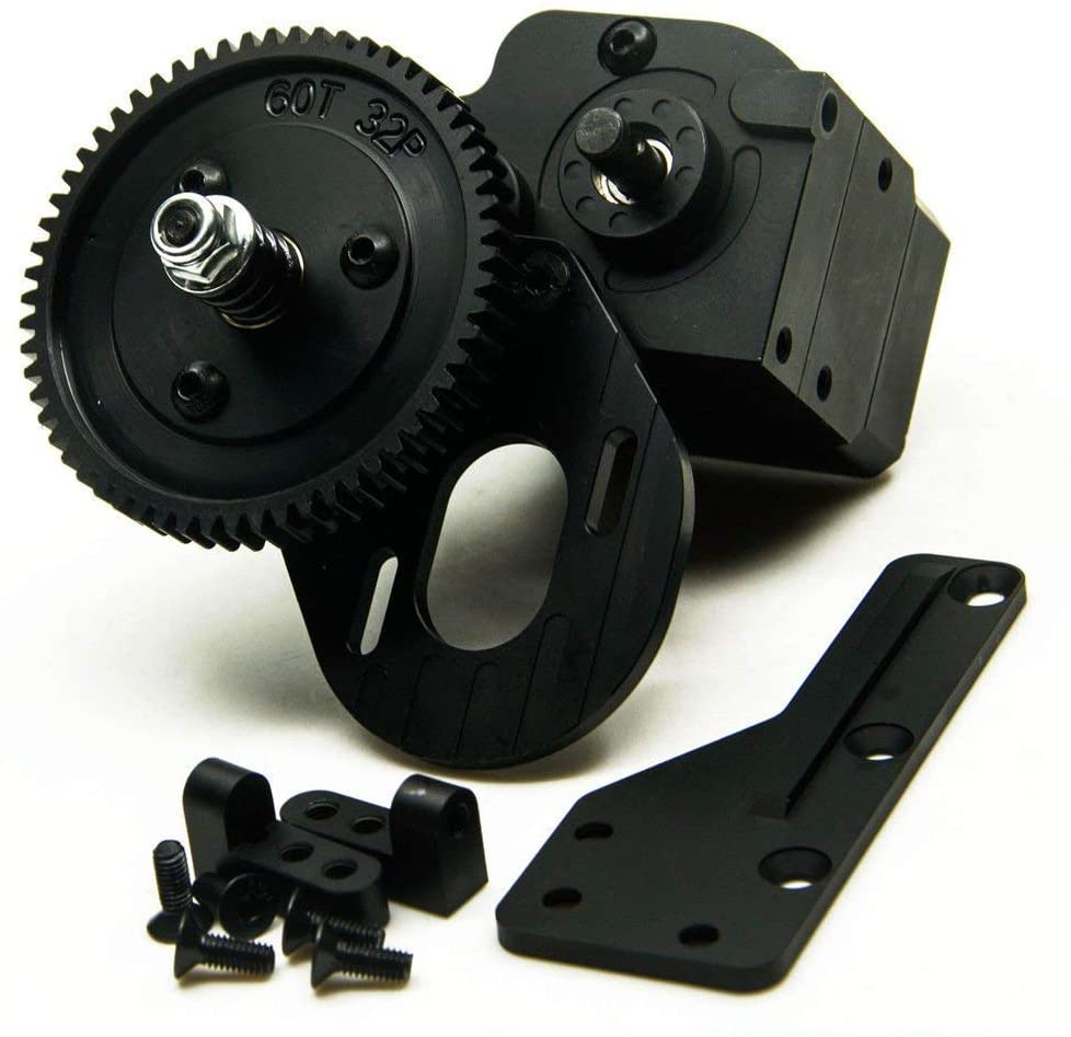 AX2 2 Aluminum Speed Transmission Case Gearbox for 1:10 Axial SCX10 Wraith Honcho RC Car Black