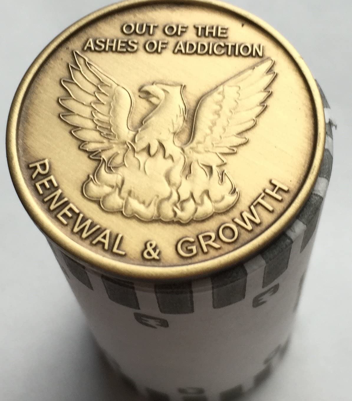 Wendells Bulk Lot of 25 Out Of The Ashes Of Addiction Renewal and Growth Medallions Serenity Prayer Chips