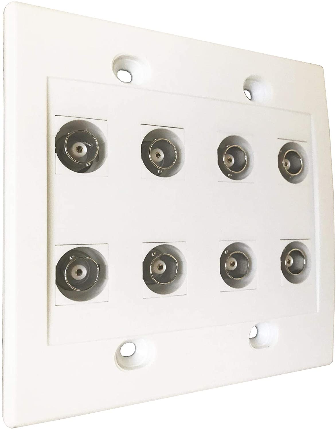 diyTech BNC Wall Plate, 8 Port, Female to Female connectors, HD-SDI, CCTV Security Camera - White