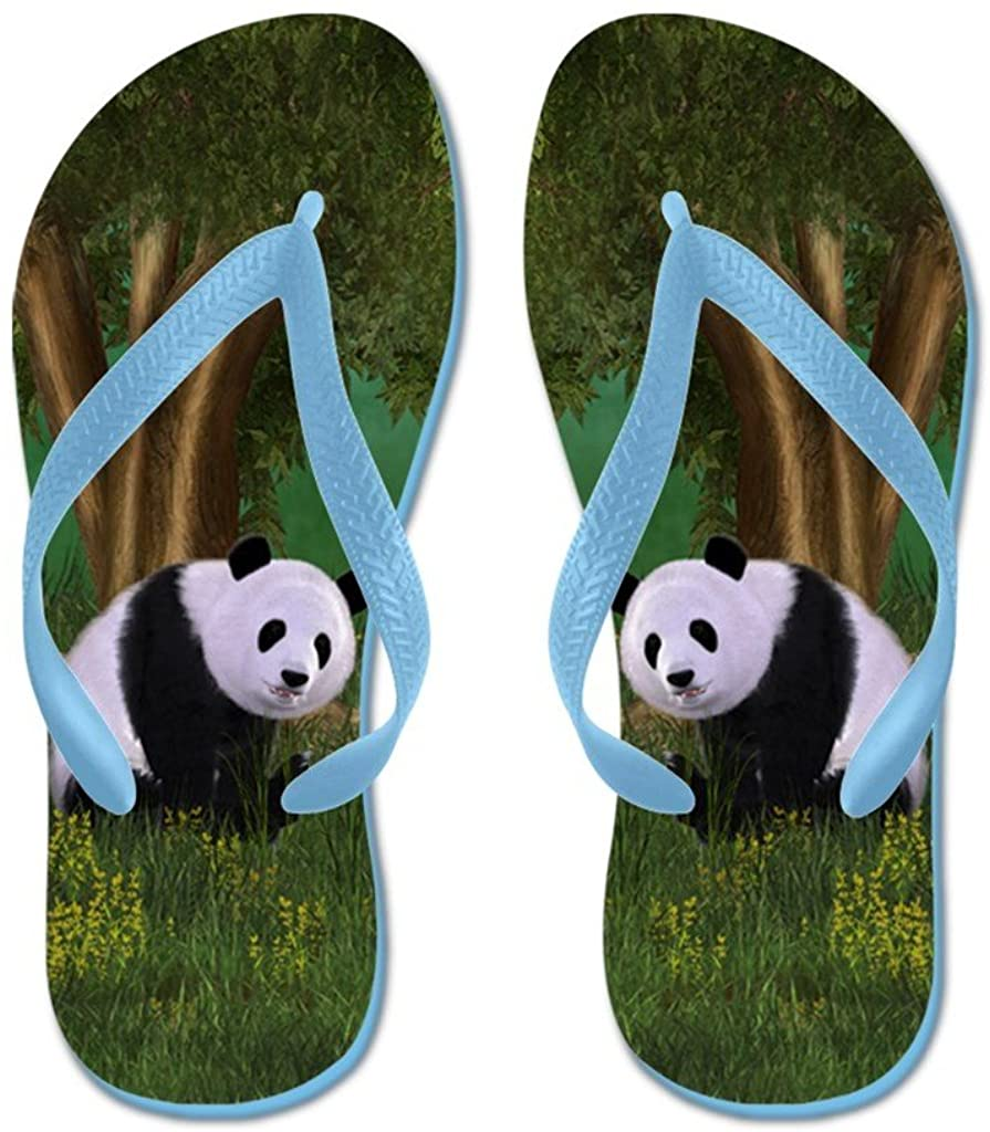 Lplpol Cute Panda Flip Flops for Kids and Adult Unisex Beach Sandals Pool Shoes Party Slippers