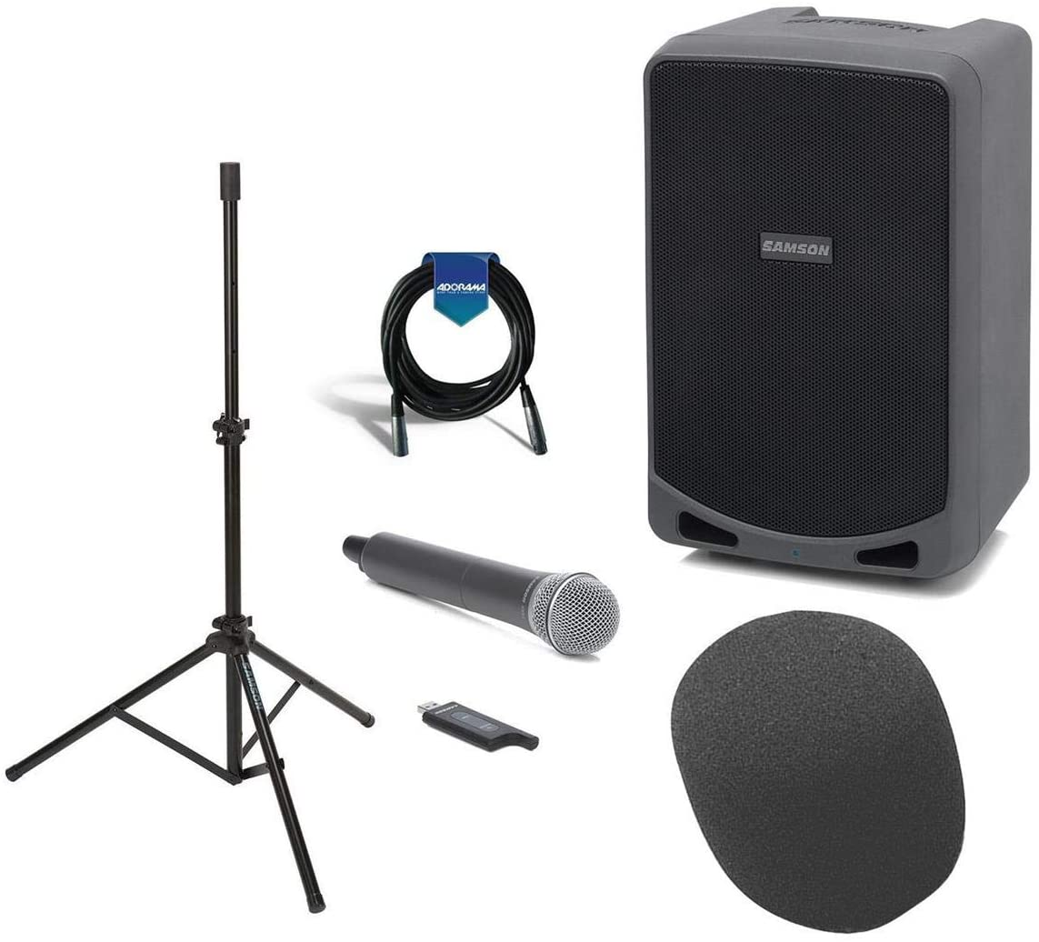 Samson 6in Expedition Rechargeable Battery Powered Wireless Portable PA,100 Watts with Bluetooth - Bundle with Samson LS40 Lightweight Speaker Stand, On-Stage ASWS58 Foam Windscreen, 20' XLR Mic Cable