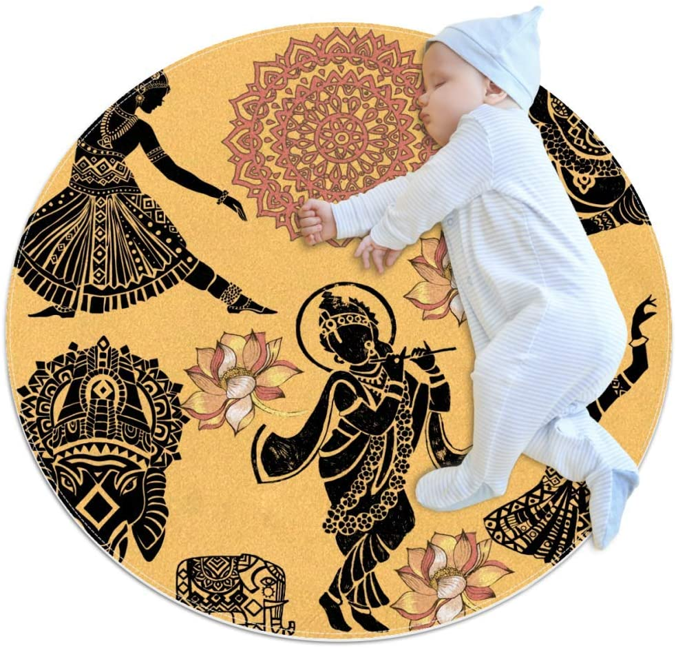 Mandala Elephant Baby Crawling Mat Home Decorative Carpet Soft and Washable Pad Non-Slip for Kid's Toddler Infants Room 39.4x39.4IN