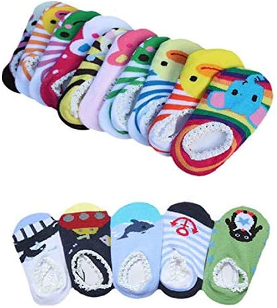 Kaptin 5 Pairs Cute Cartoon Baby Sock Anti-slip Soft Infant Ankle Cotton Socks Skid Toddler Gripper Socks for 6-18 Months