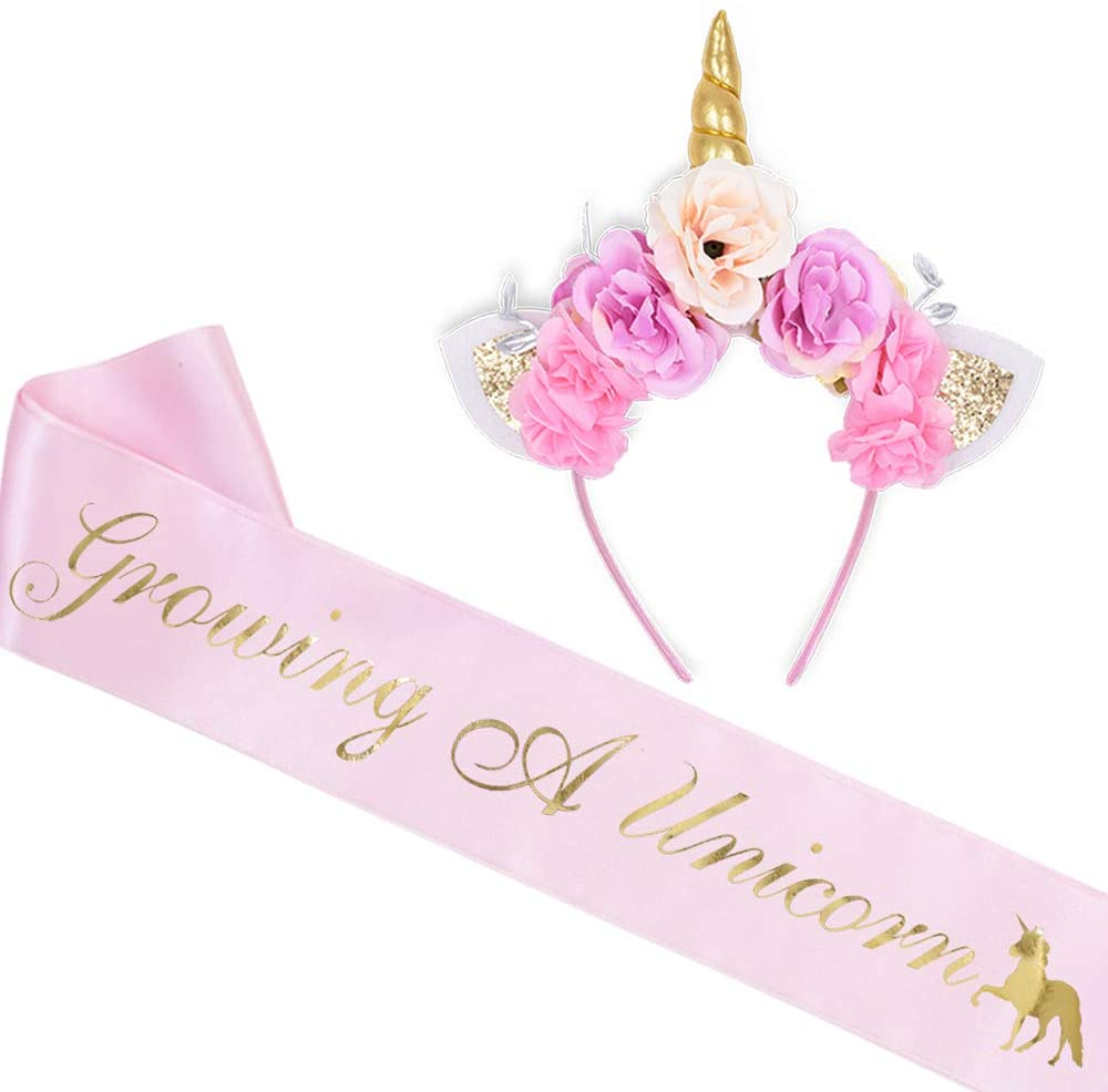 Growing A Unicorn Sash and Unicorn Flower Headband Kit - Baby Shower Gifts Welcome Baby Baby Sprinkle Its A Girl Accessories(Light Pink)