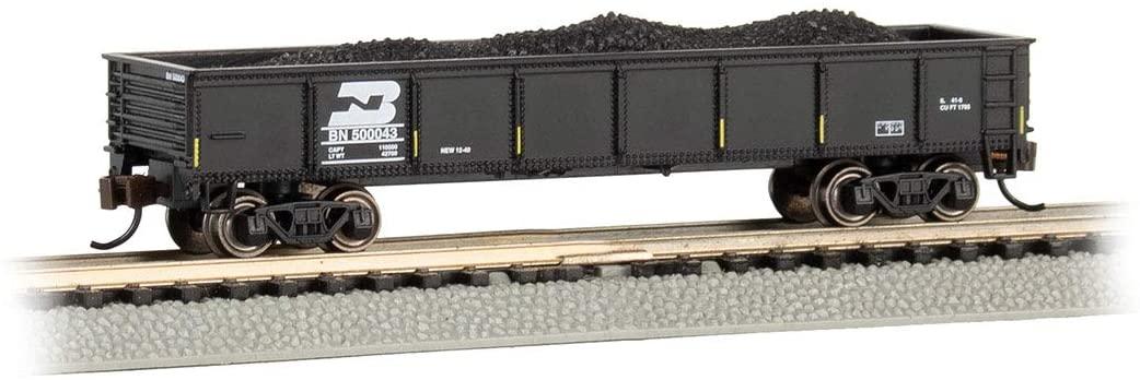 Bachmann Trains - 40' Gondola Car - Burlington Northern (Black) with Removable Coal Load - N Scale