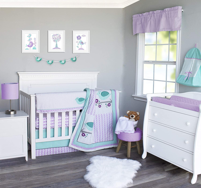 Pam Grace Creations 6 Piece Lovebirds Crib Bedding Set, Purple
