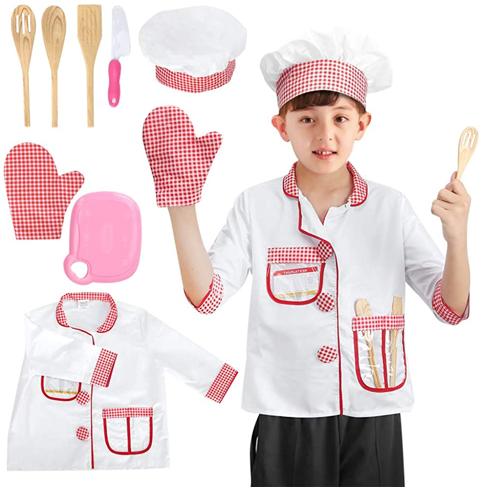Kids Chef Costume Hat Kit Toys Kitchen Pretend Role Play Toys with Cooking and Baking Tools Sets,Educational Chef's Dress Up Clothing Gifts for Toddler Girls Boys 3 4 5 6 years old