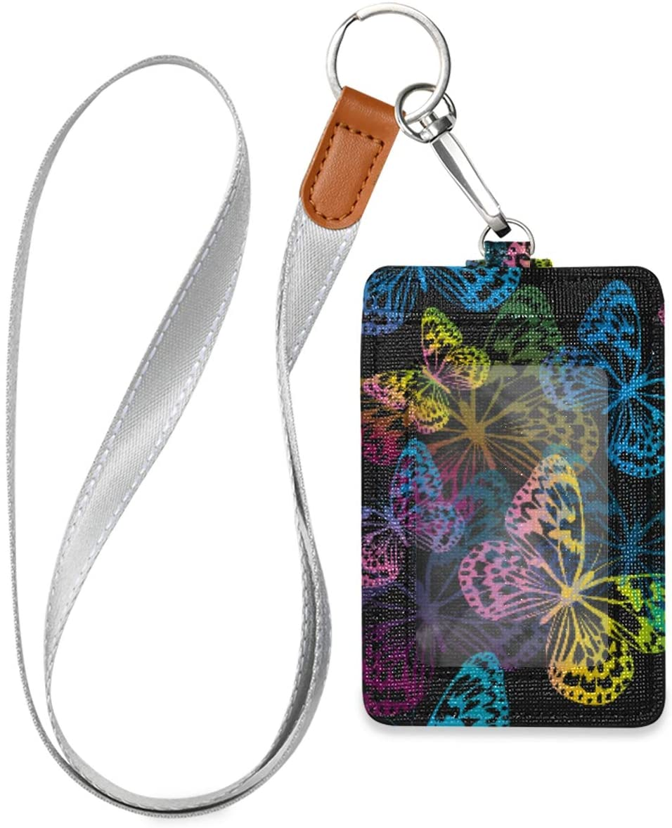 VIKKO Colored Butterfly Badge Holder, PU Leather ID Card Case Wallet with Neck Lanyard and Key Ring