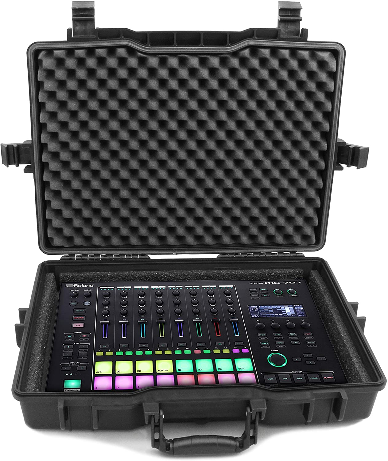 Casematix Elite Rugged Pad, Synthesizer and Mixer Case with Foam Compatible with MC-707, TR-8S, TR-8, MX-1, Peak, MPC Live, MPD232, APC40 MKII and Accessories