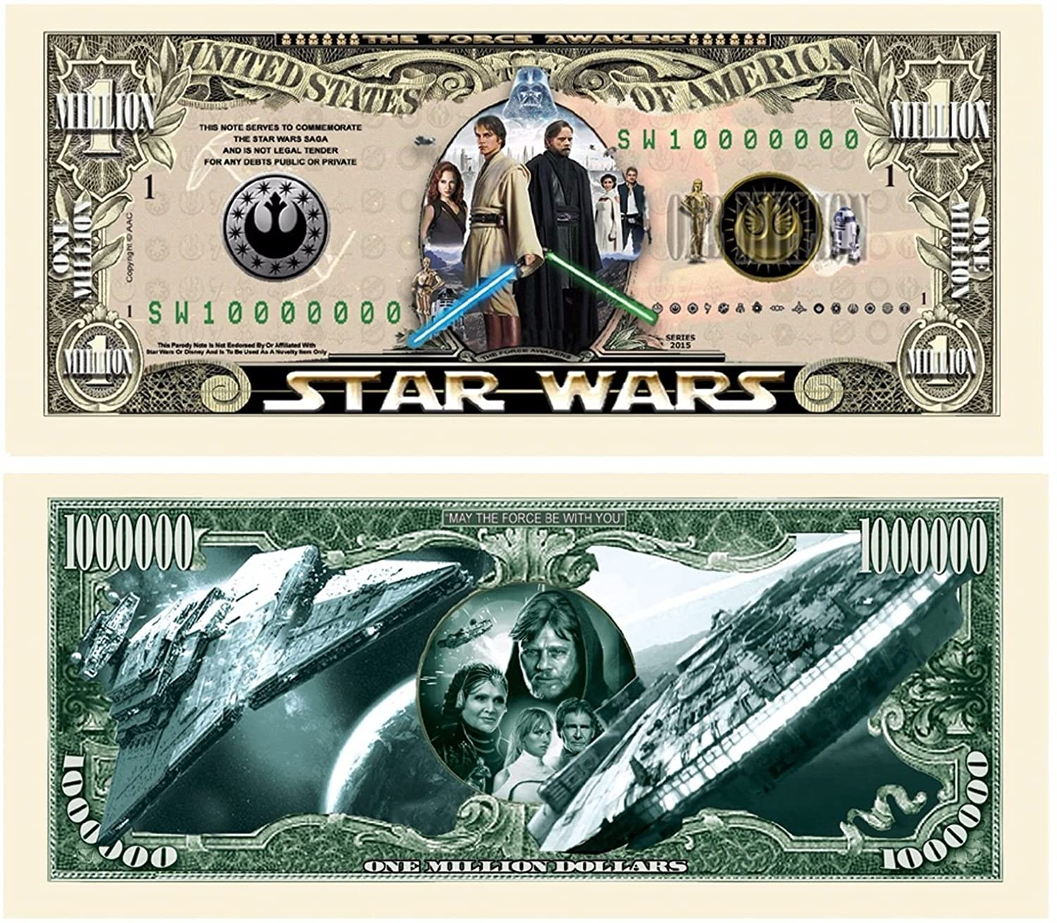 """Star Wars Million Dollar Bill with Bonus """"Thanks a Million"""" Gift Card Set and Clear Protector"""