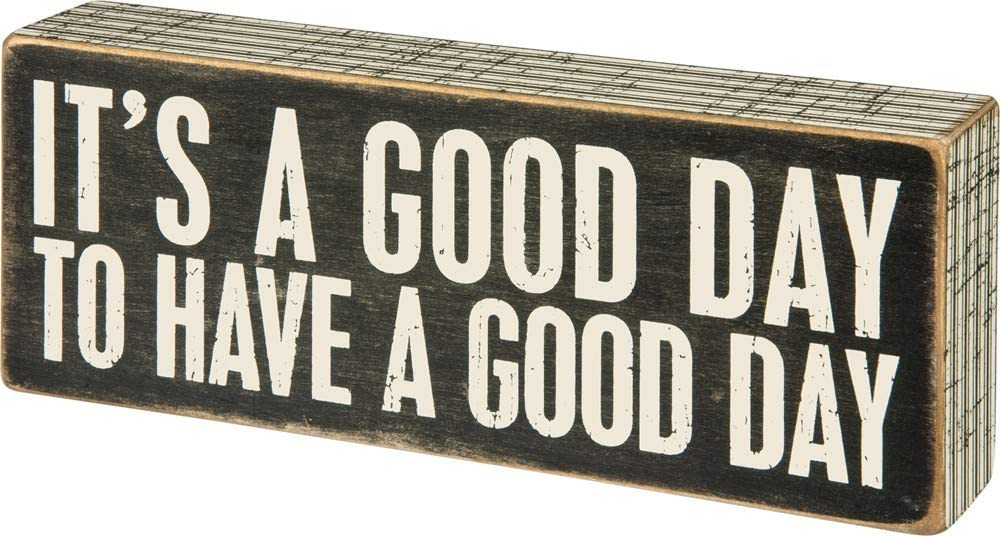 Primitives by Kathy 31127 Pinstriped Trimmed Box Sign, 8 x 3, A Good Day