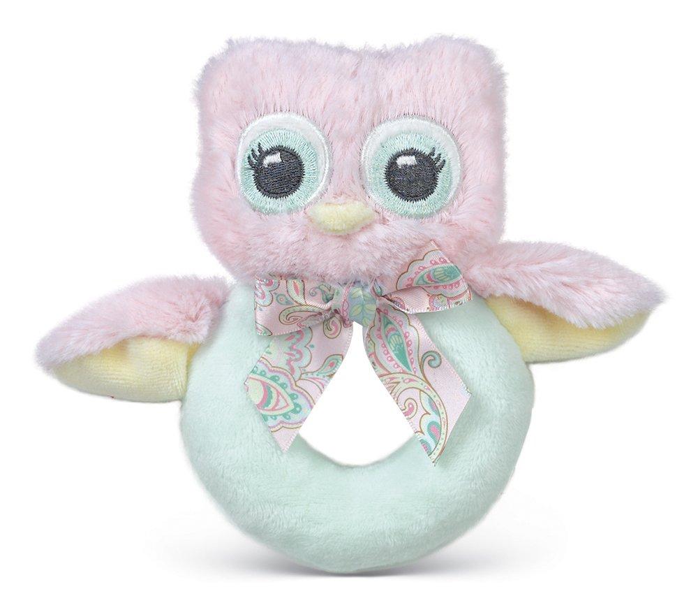 Bearington Baby Lil' Hoots Plush Stuffed Animal Pink Owl Soft Ring Rattle 5.5