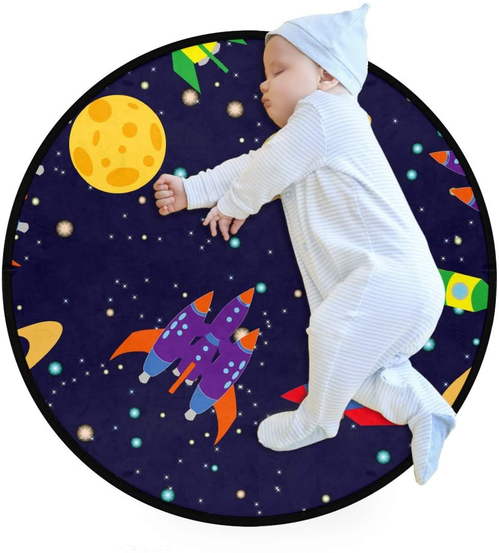 Cartoon Space Rocket Planet Stars Kids Round Rug Baby Crawling Non-Slip Mats Child Activity Play Mat for Bedroom Playroom Home Decor (Diameter 36.2