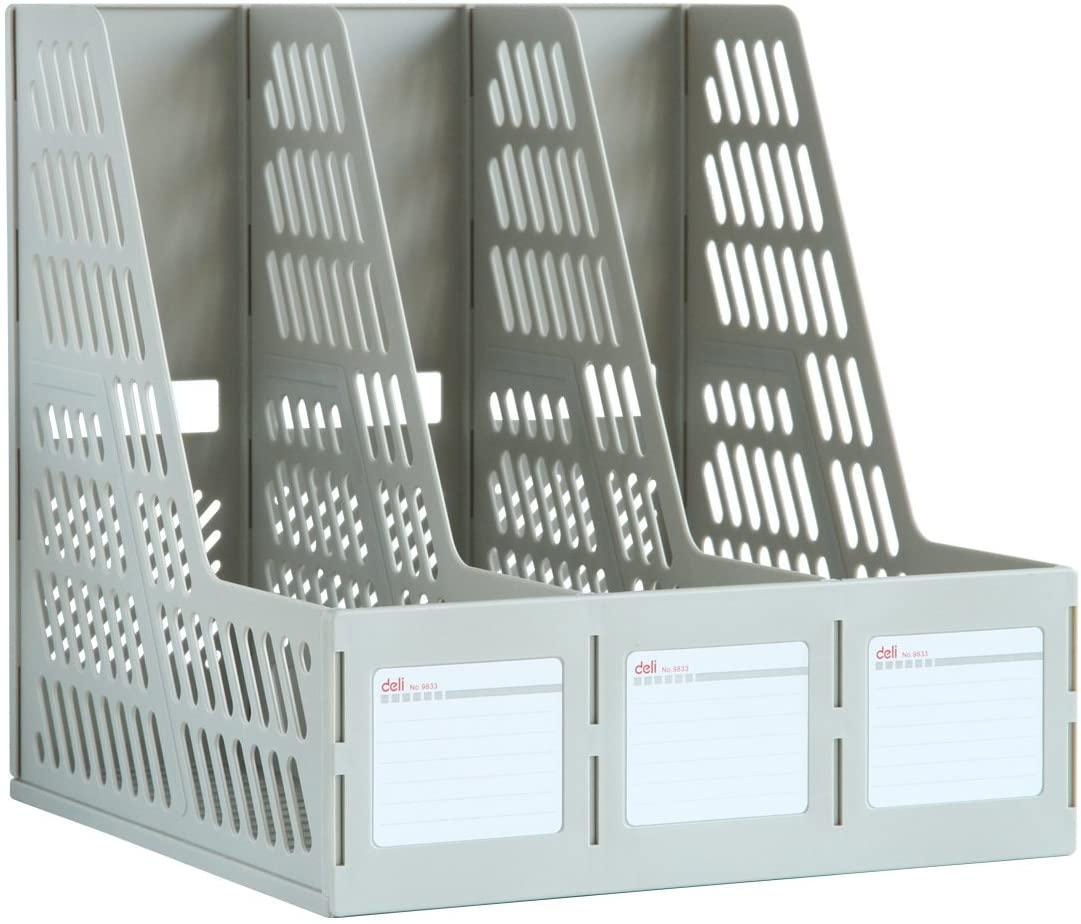 Desktop Storage Expander Removable Triple File Frame Multi-Layer Storage Frame Office Document Folder (Color : Gray)