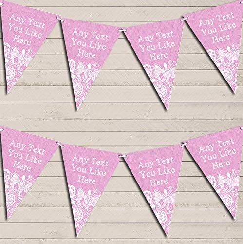 Pink Burlap & Lace Retirement Bunting Garland Party Venue Decoration Party Flag Banner Garland