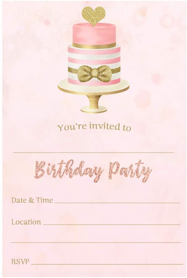 Birthday Party Invitations Girly Pink and Gold Invites Fill in The Blank Bday Cake Teen Teenager Kids Childrens First DIY (24 Count)