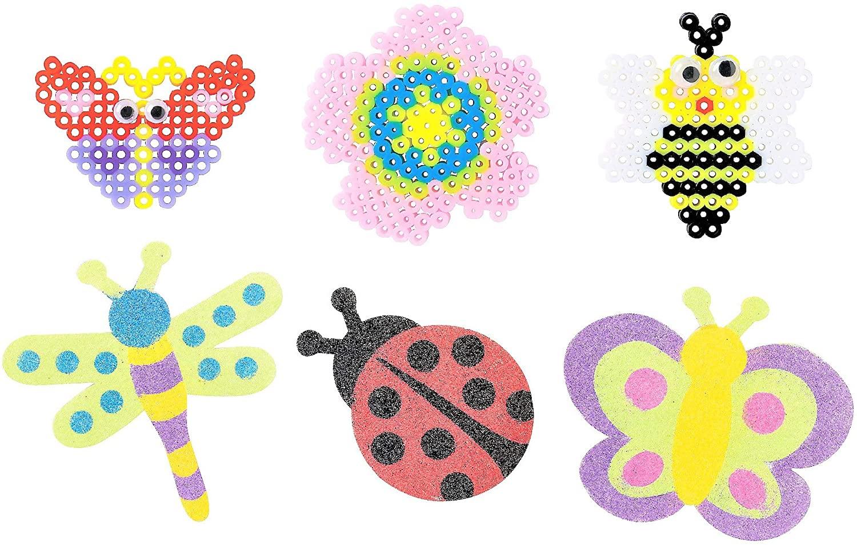 Spring Summer Craft Kits Set - Sand Art & Fuse Beads Cute Bugs - Childrens Activities for Classroom, Kids Sunday School Homeschooling Supplies Scrapbooking 2020 DIY Refrigerator Decor